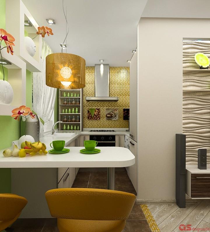 Вид от рабочей зоны на кухню