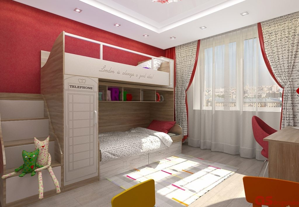Комната девочек вид на кровать